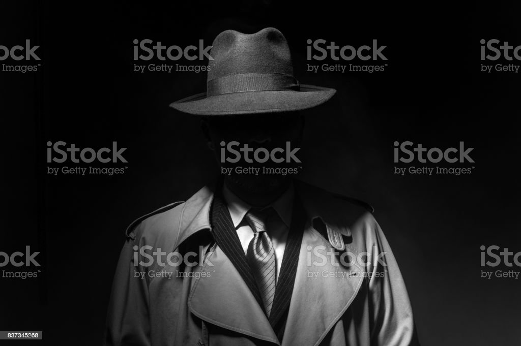 Noir movie character stock photo