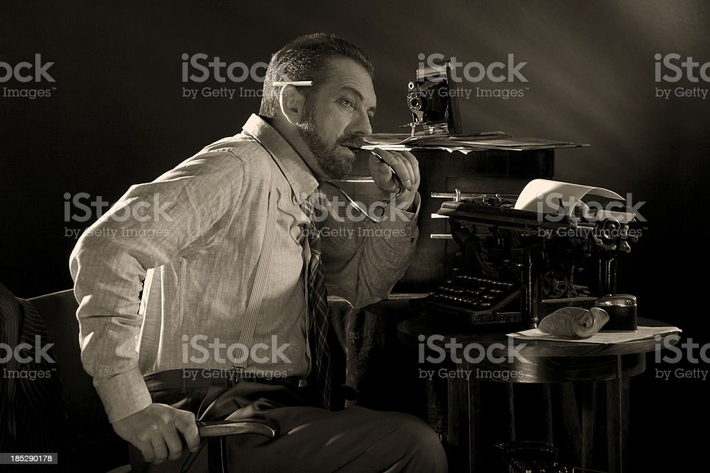 Noir Style. Journalist. stock photo