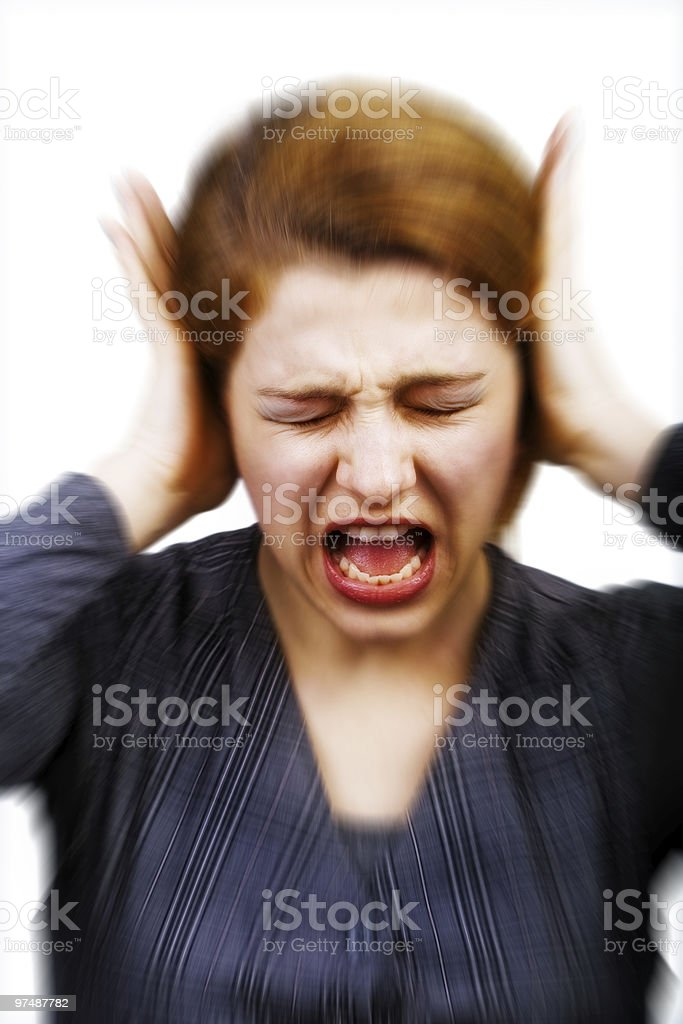 Noise and stress concept - woman covering ears royalty-free stock photo