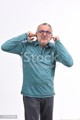 1029343276 istock photo noise man on white background 1137015351