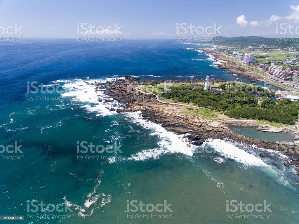 Nojimasaki lighthouse aerial view ストックフォト