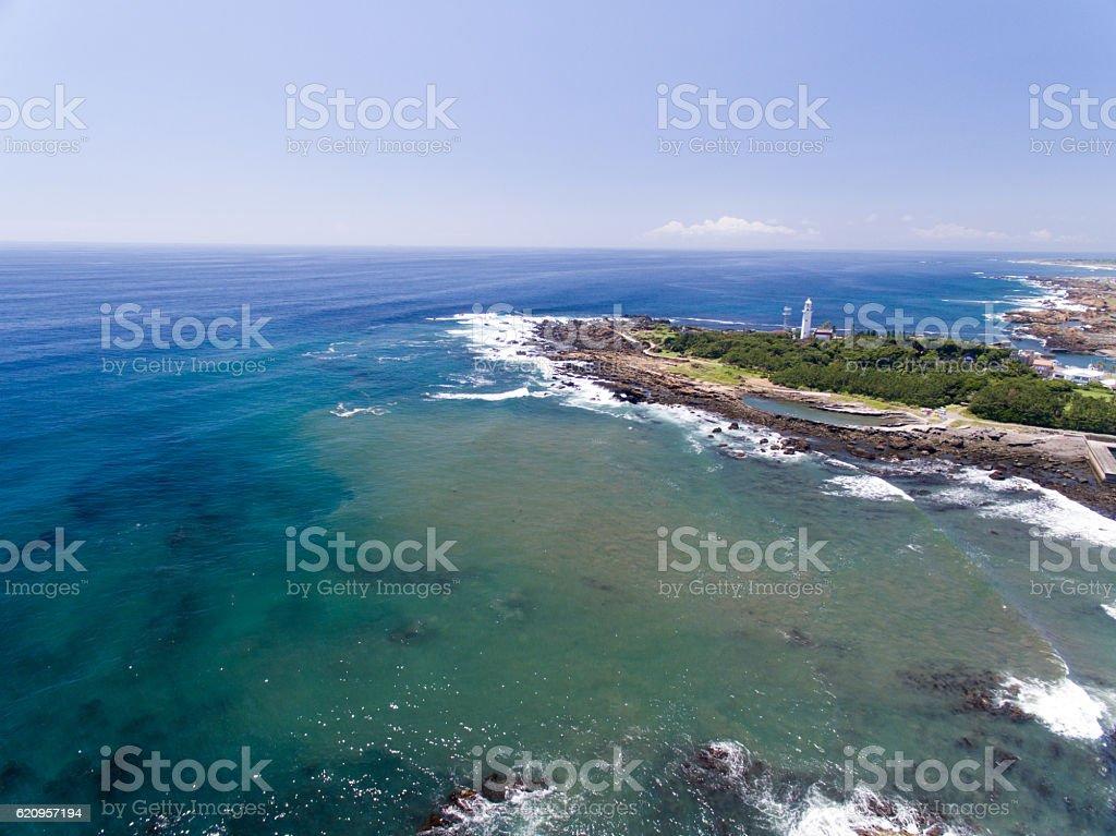Nojimasaki lighthouse aerial view stock photo