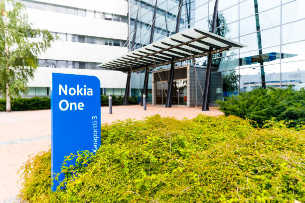 Nokia brand name on a blue sign on September 16, 2017 stock photo