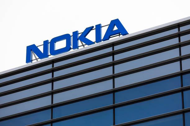 Nokia brand name on top of an office building stock photo