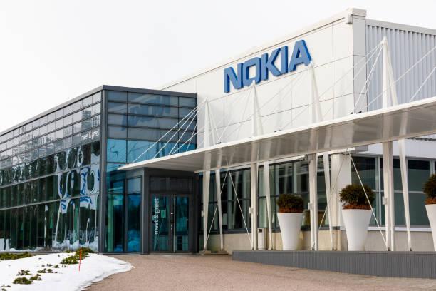 Nokia company name on a building wall stock photo