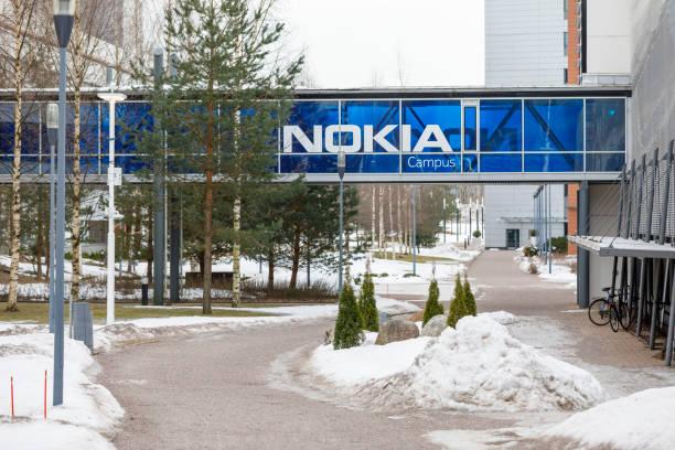 Nokia logo on blue bridge stock photo