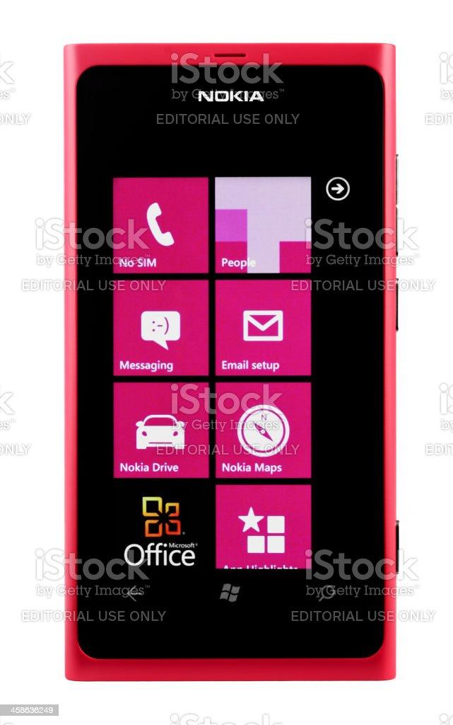 Nokia Lumia 800 Magenta, isolated on white stock photo