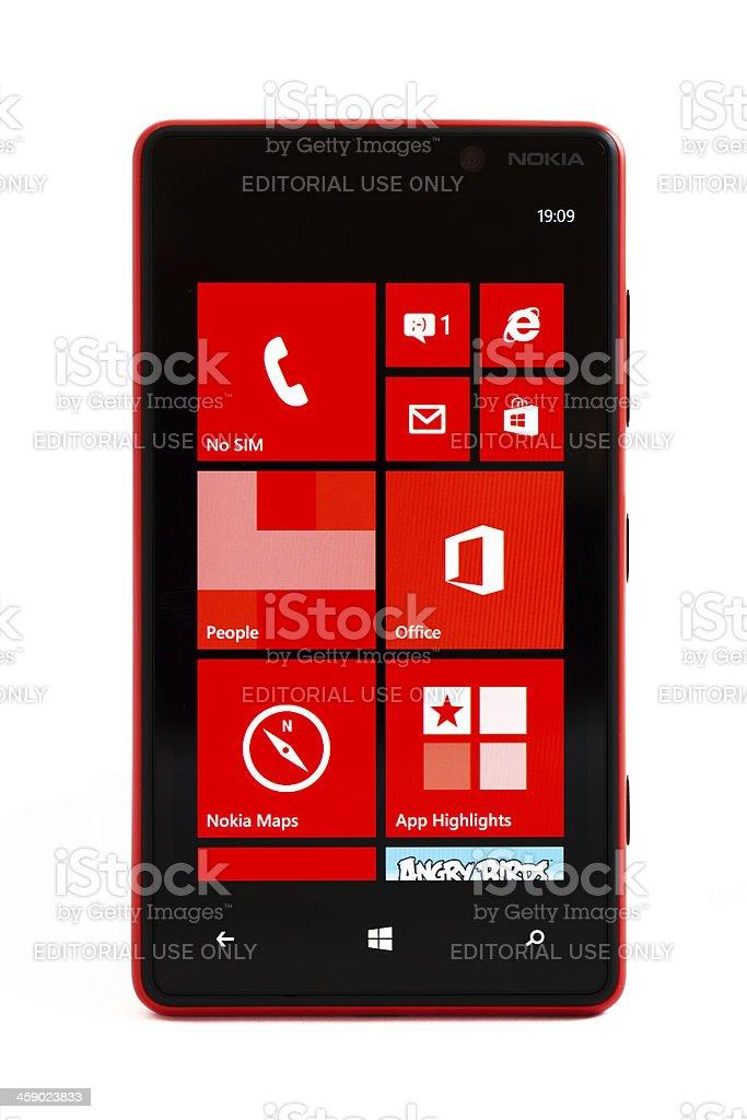 Nokia Lumia 820 Red, isolated on white stock photo