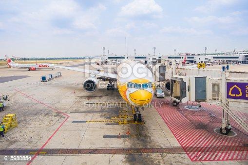 186763256 istock photo NokScoot Airline Boeing777-200ER HS-XBC in Bangkok 615980854