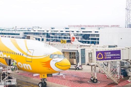 186763256 istock photo NokScoot Airline Boeing777-200ER HS-XBC in Bangkok 615980880