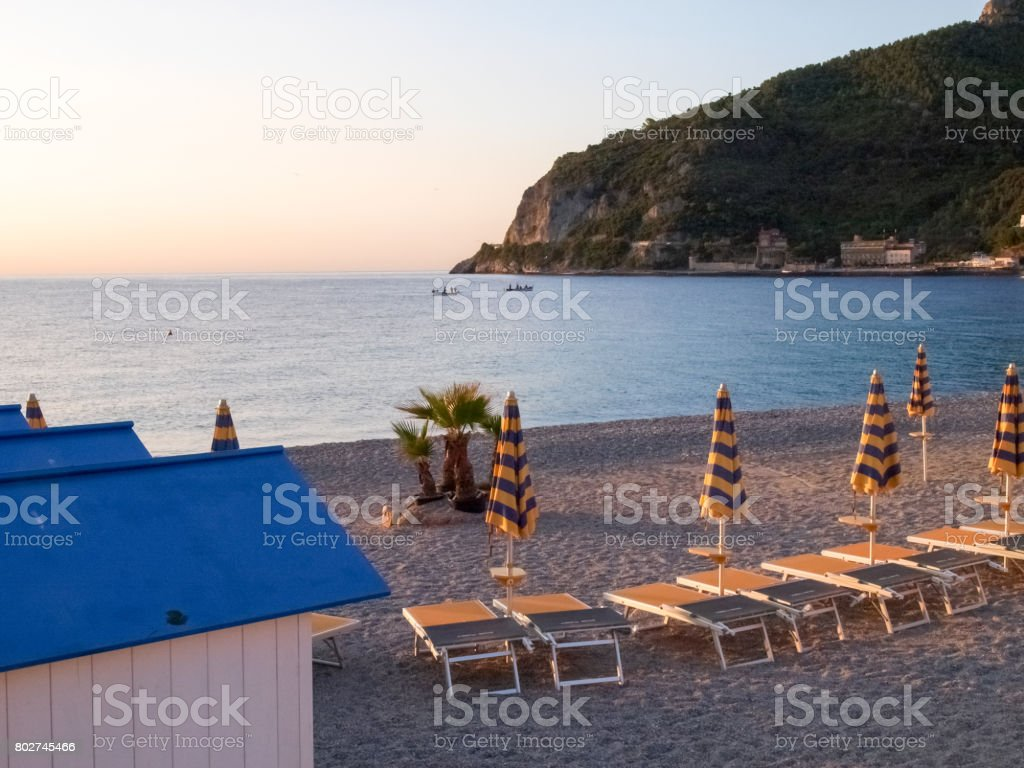 Noli beach in the early morning light stock photo