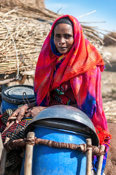 nomad portrait - sudan stock photos and pictures