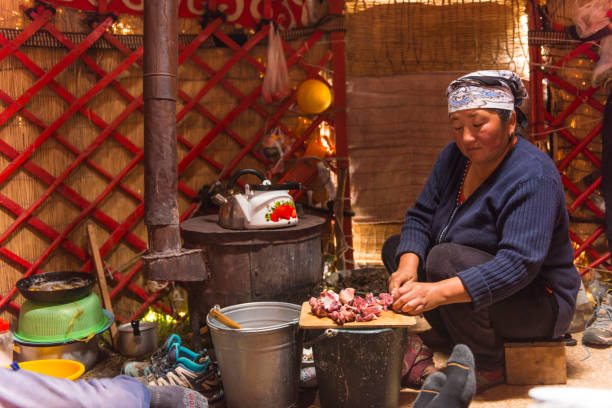 Nomad women cooking in yurt Nomad women cutting meat for dinner in simple domestic kitchen in her yurt at old fireplace for tourists to stay there. mongolian culture stock pictures, royalty-free photos & images