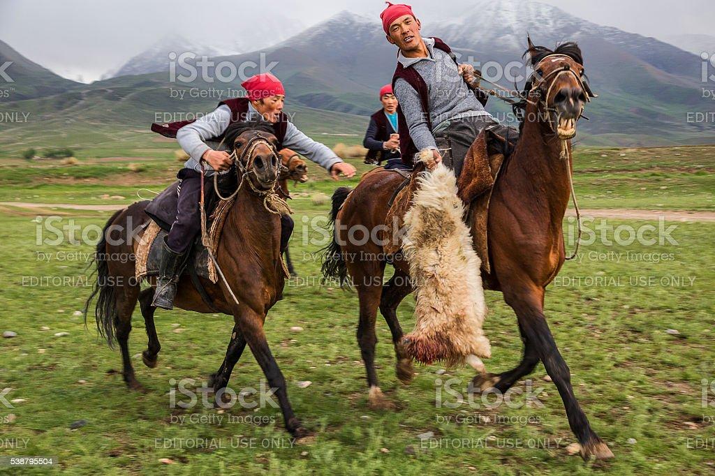 Nomadic horse games in Issyk Kul Lake, Kyrgyzstan stock photo