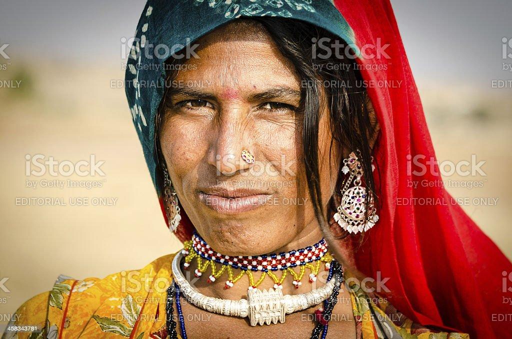 Nomadic Indian Woman of Thar desert royalty-free stock photo