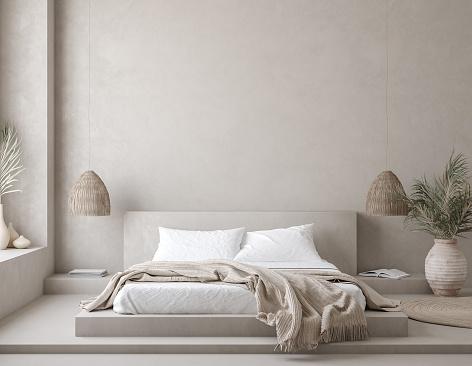 Nomadic style bedroom interior background