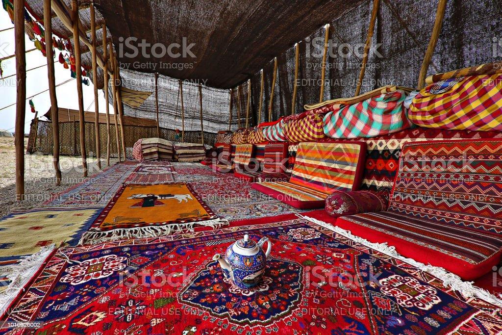 Nomadic tent, in Firuzabad, Iran stock photo