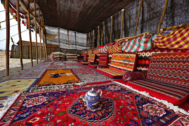 Nomadic tent, in Firuzabad, Iran Firuzabad, Iran - April 4, 2018: Colorful yurt of Iranian nomadic people known as ghashghai, in Iran. persian culture stock pictures, royalty-free photos & images