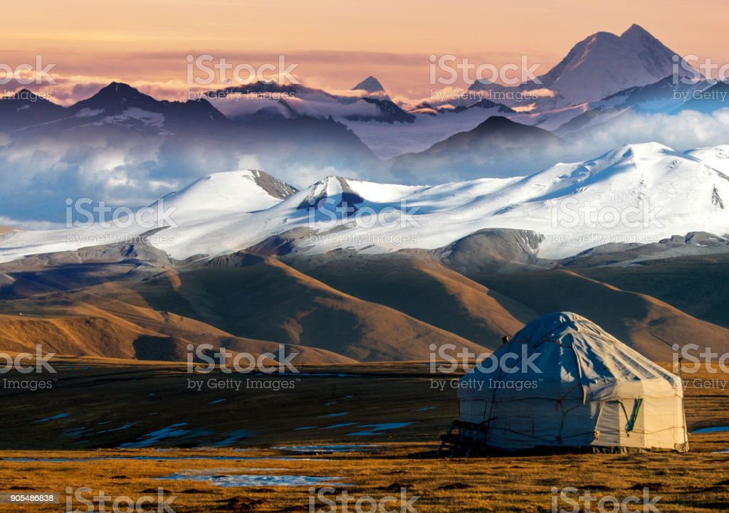 Nomadic tents known as Yurt at the Almaty Mountains, Kazakhstan stock photo