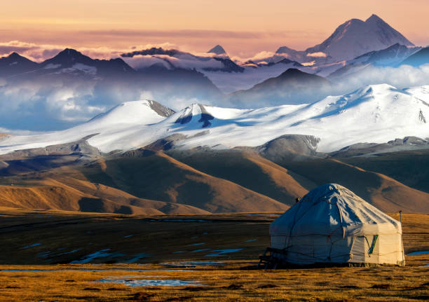 Nomadic tents known as Yurt at the Almaty Mountains, Kazakhstan Nomadic tents known as Yurt at the Almaty Mountains, Kazakhstan kazakhstan stock pictures, royalty-free photos & images