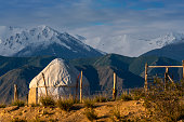 Nomadic tents known as Yurt at the Issyk Kul Lake, Kyrgyzstan.