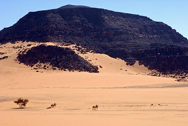 Reisende auf ihre Kamele in der Wüste – Foto