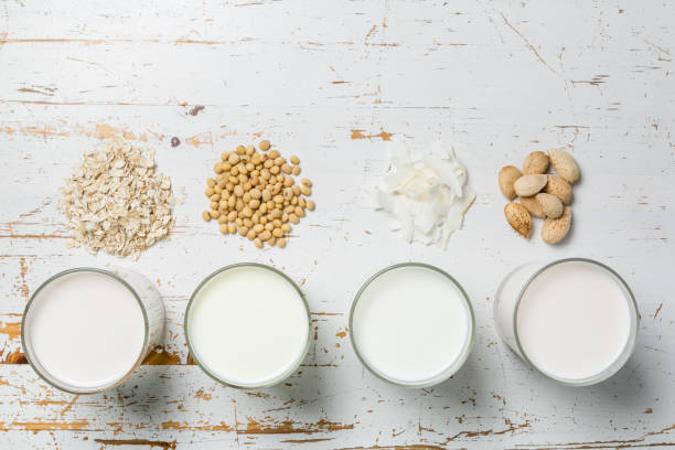 non dairy milk concept - dairy stock pictures, royalty-free photos & images