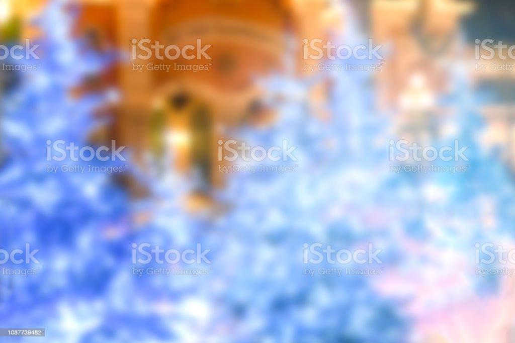 Não foco três em azul tema de Natal com iluminação, fundo de vida noite feliz Natal e feliz ano novo conceito de festa. - foto de acervo