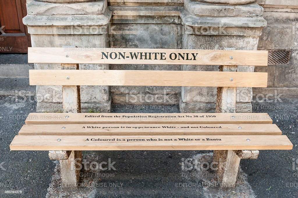 Non Whites only -reconstructed apartheid bench in Cape Town stock photo