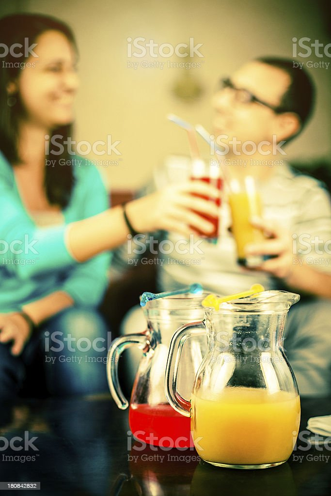 Nonalcoholic juice soft drink with friends royalty-free stock photo
