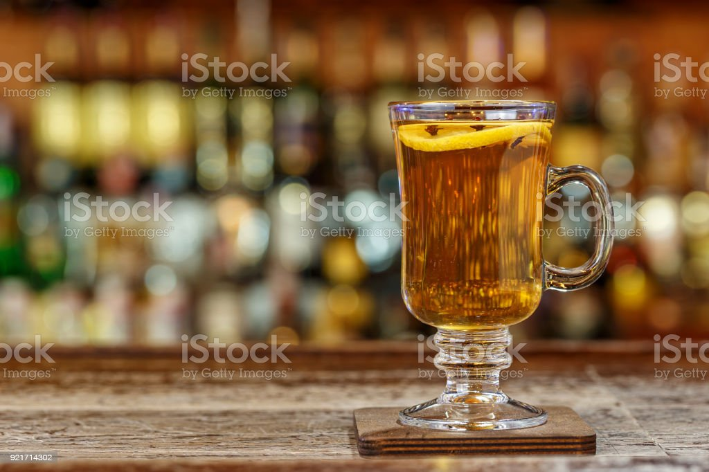 Non-alcoholic mulled wine on the bar stock photo