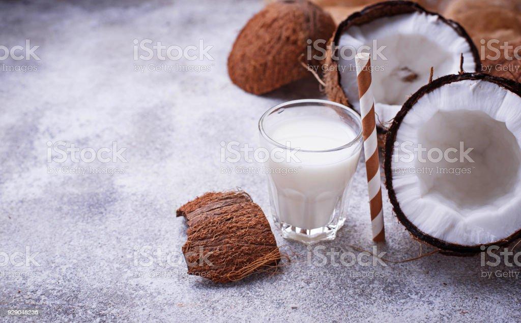 Non-dairy coconut milk. Healthy drink stock photo