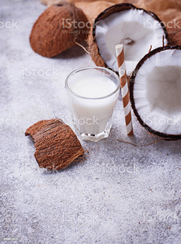 Non-dairy coconut milk. Healthy drink stock photo