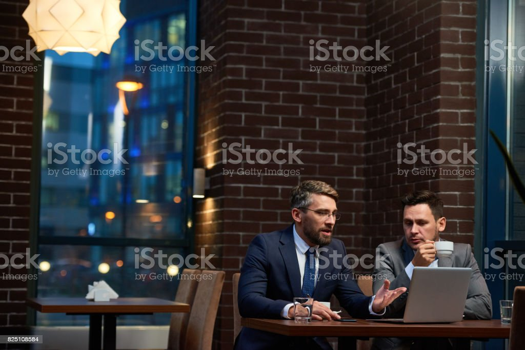 Non-formal meeting in restaurant stock photo
