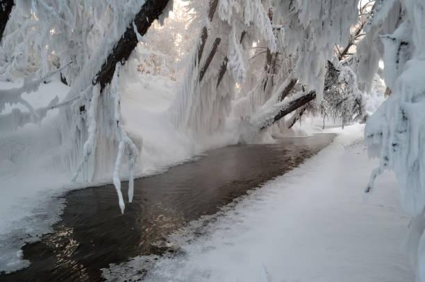 Non-freezing rivers in Oymyakon. Tomtor village, Yakutia.