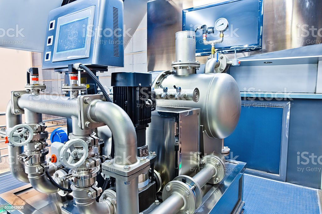 non-negative pressurized and flow-steady water supply equipment stock photo