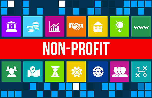 nonprofit concept image with business icons and copyspace. - contributor stock pictures, royalty-free photos & images