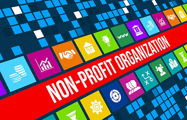non-profit organization  concept image with business icons and copyspace. - contributor stock pictures, royalty-free photos & images