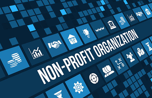Non-profit organization  concept image with business icons and copyspace. stock photo