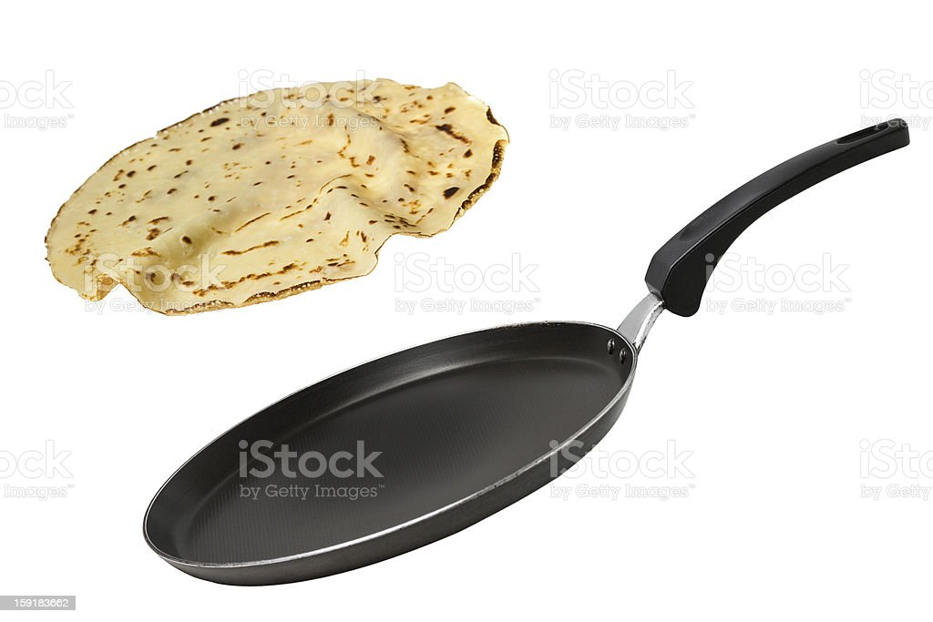 A nonstick pan flipping a crepe isolated on white stock photo