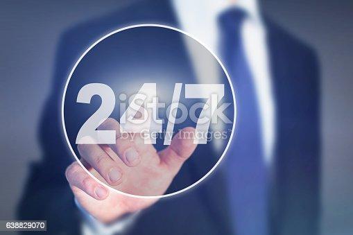 istock nonstop service, button 24/7 638829070