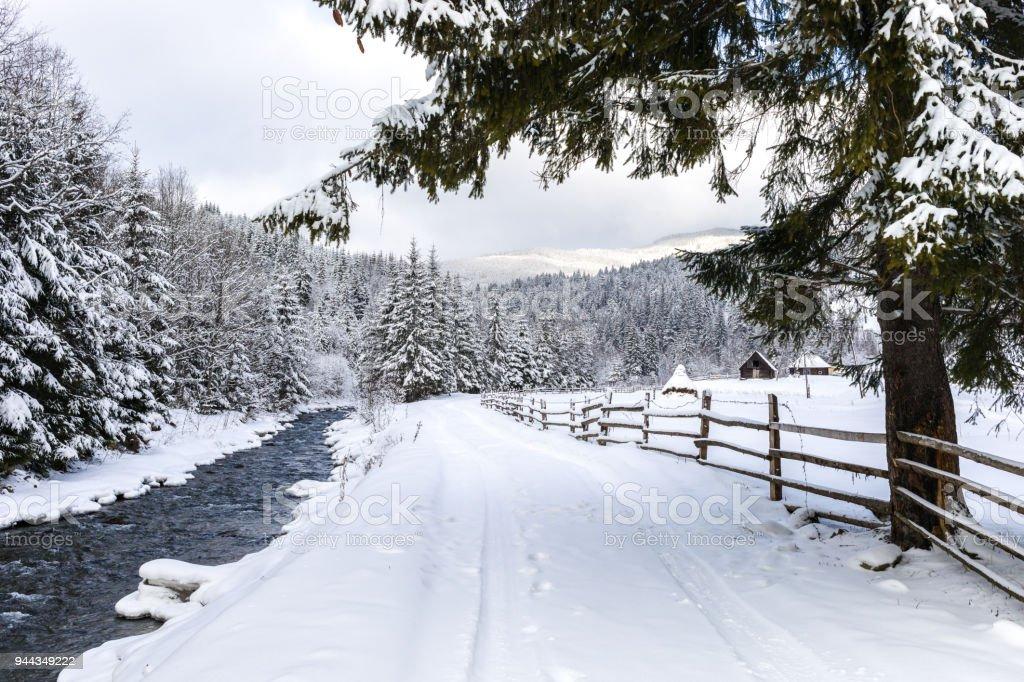 Non-urban scene in the snow covered Carpathian Mountains stock photo