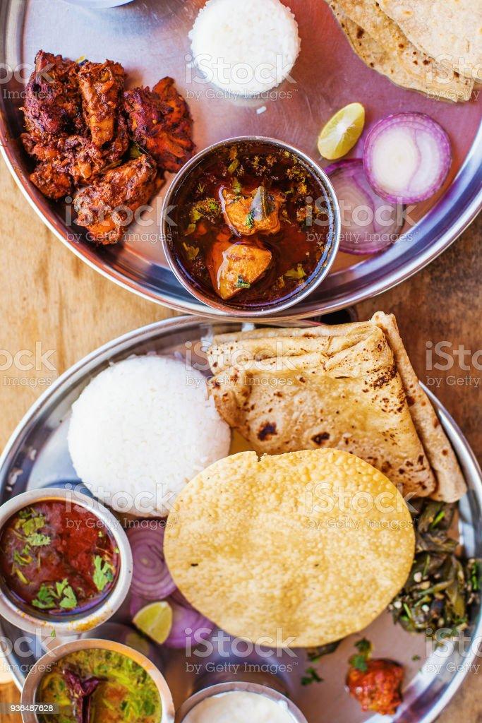 Non-veg thali stock photo