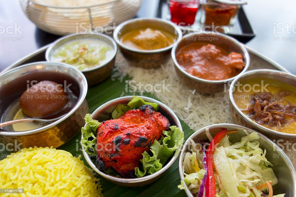 Non-vegetarian Indian Thali. royalty-free stock photo