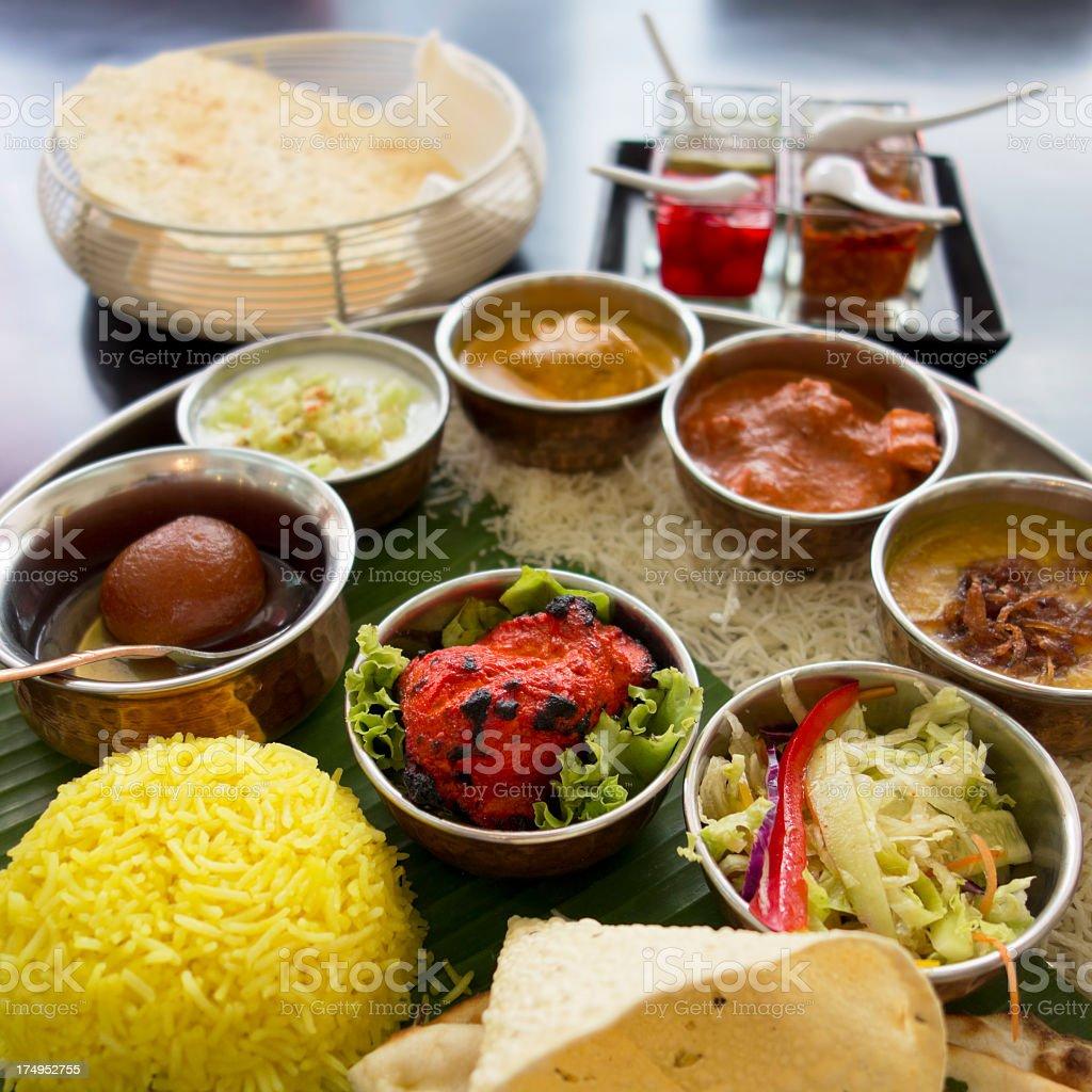 Non-vegetarian Indian Thali. stock photo