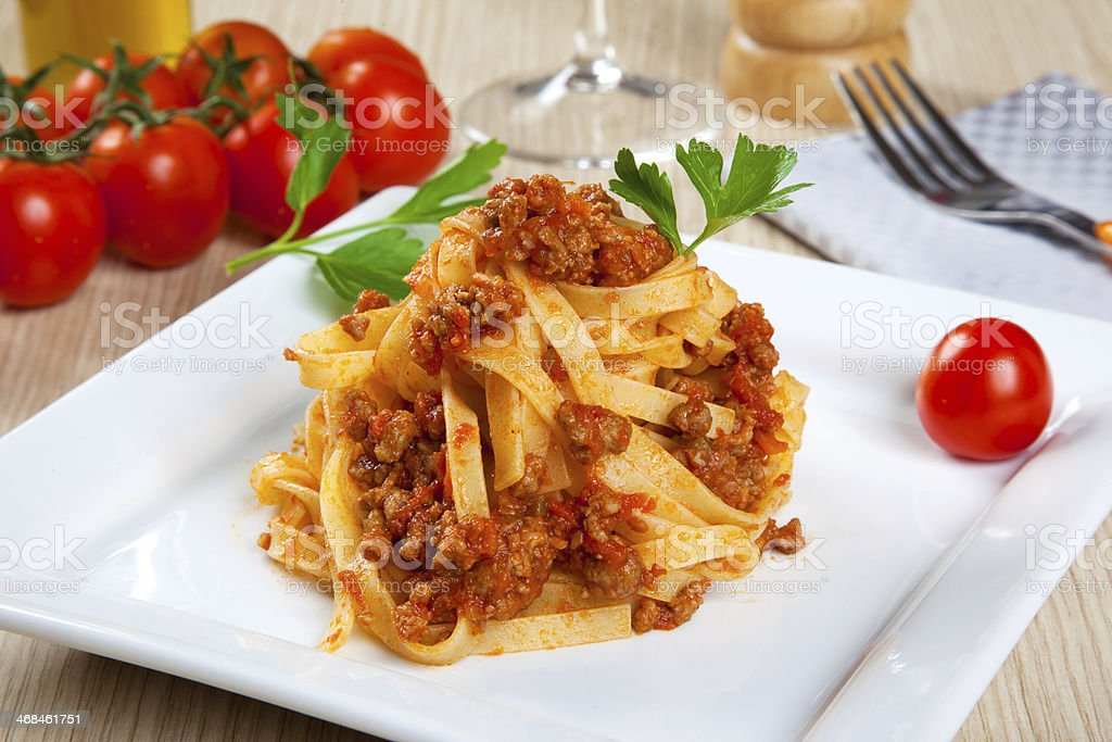 Noodels with meat sauce stock photo