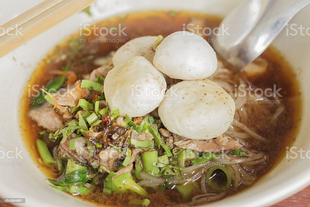 Noodle & Meatballs royalty-free stock photo