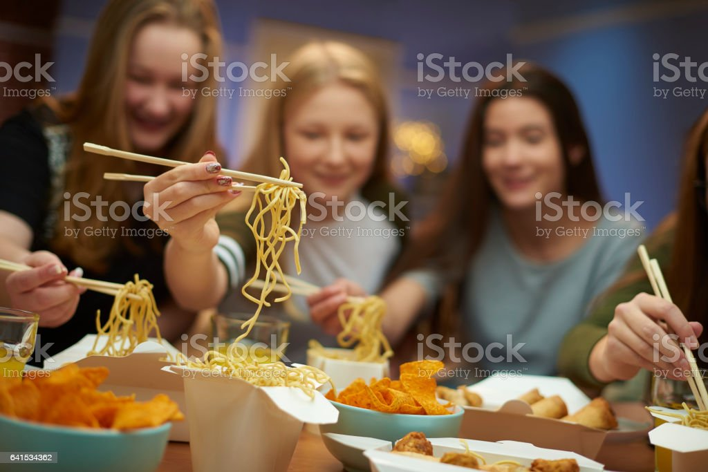 noodle night in stock photo