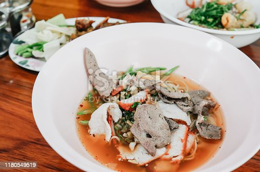Noodle of Sukhothai style in Thailand. (Thai Food)Sukhothai noodles recipe has a sweet taste that is adapted to the popularity of northern Thailand.