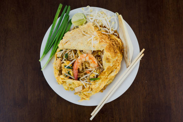 noodle puff,pad thai is thai food style stock photo
